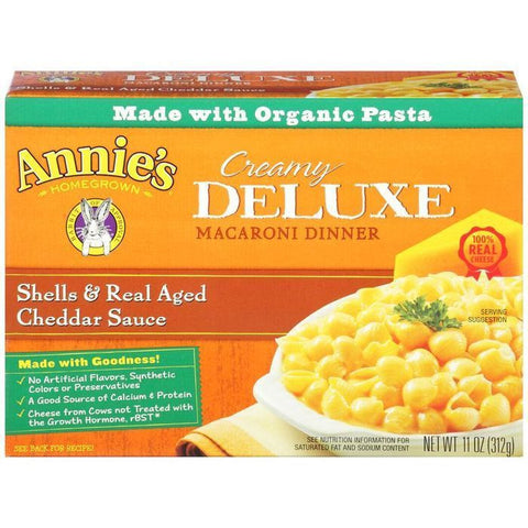 Annie's Homegrown Creamy Deluxe Shells & Real Aged Cheddar Sauce Macaroni Dinner 11 Oz  (Pack of 12)