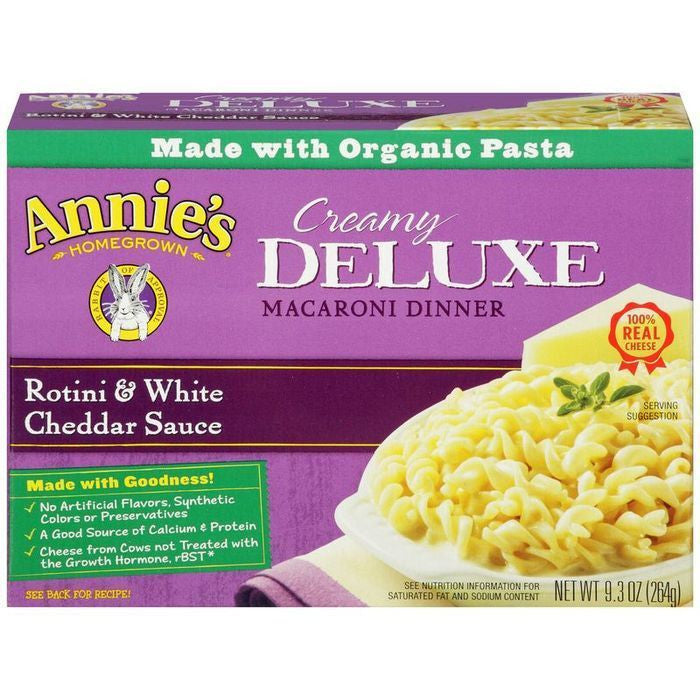 Annie's Homegrown Creamy Deluxe Rotini & White Cheddar Sauce Macaroni Dinner 9.3 Oz  (Pack of 12)
