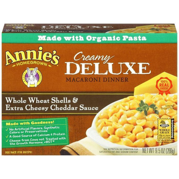 Annie's Homegrown Creamy Deluxe Whole Wheat Shells & Extra Cheesy Cheddar Sauce Macaroni Dinner 9.5 Oz  (Pack of 12)