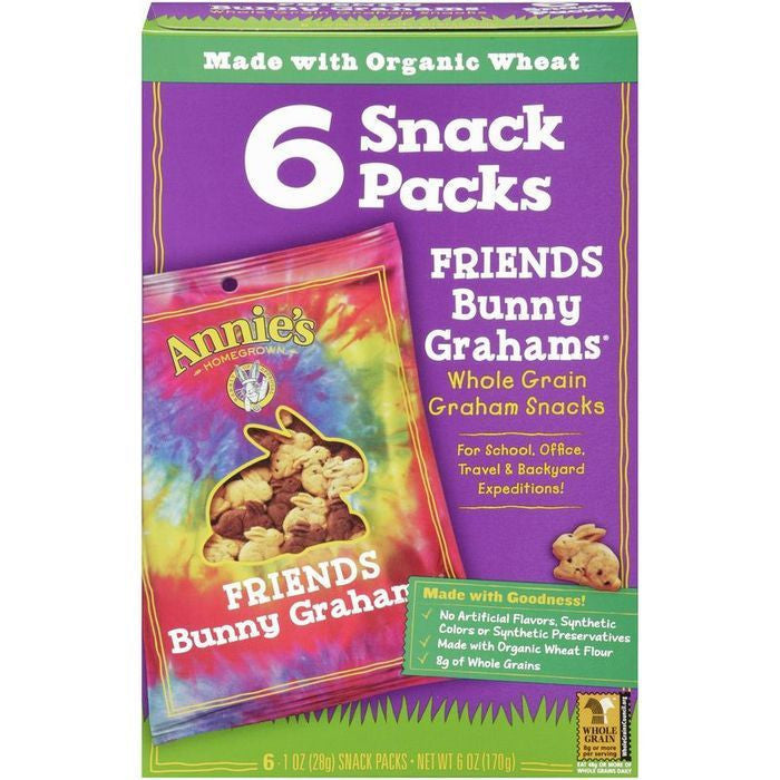 Annie's Homegrown Bunny Grahams Friends Whole Grain Graham Snacks 6-1 Oz Snack Packs (Pack of 6)