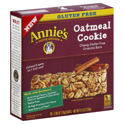 Annies Oatmeal Cookie Chewy Gluten Free Granola Bars, 4.9 Oz (Pack of 12)