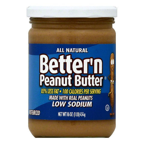 Bettern Low Sodium Peanut Butter, 16 OZ (Pack of 6)