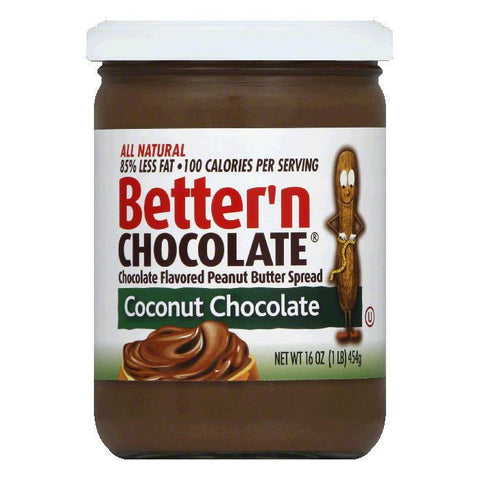 Better N Peanut Butter Peanut Coconut Chocolate Spread, 16 OZ (Pack of 6)
