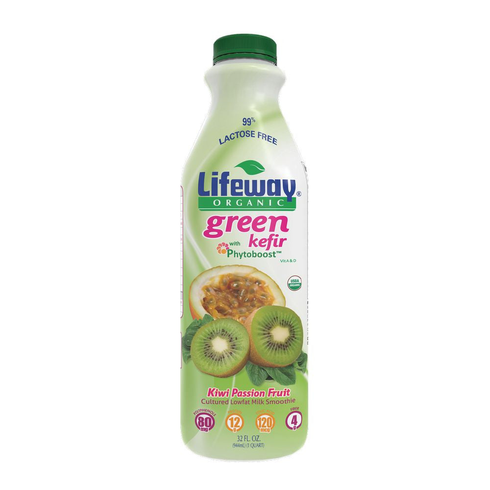 Lifeway Organic Green Kefir Kiwi Passon Fruit, 32 Oz (Pack of 6)