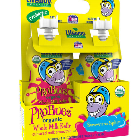 Lifeway ProBugs Strawnana Split, 4 Oz (Pack of 6)