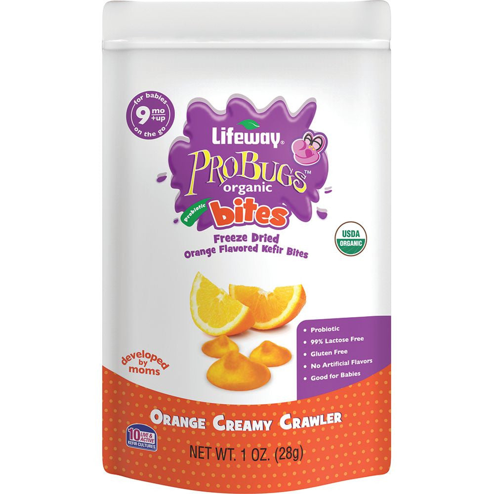 Lifeway ProBugs Organic Bites Orange Creamy Crawler, 1 Fo (Pack of 8)