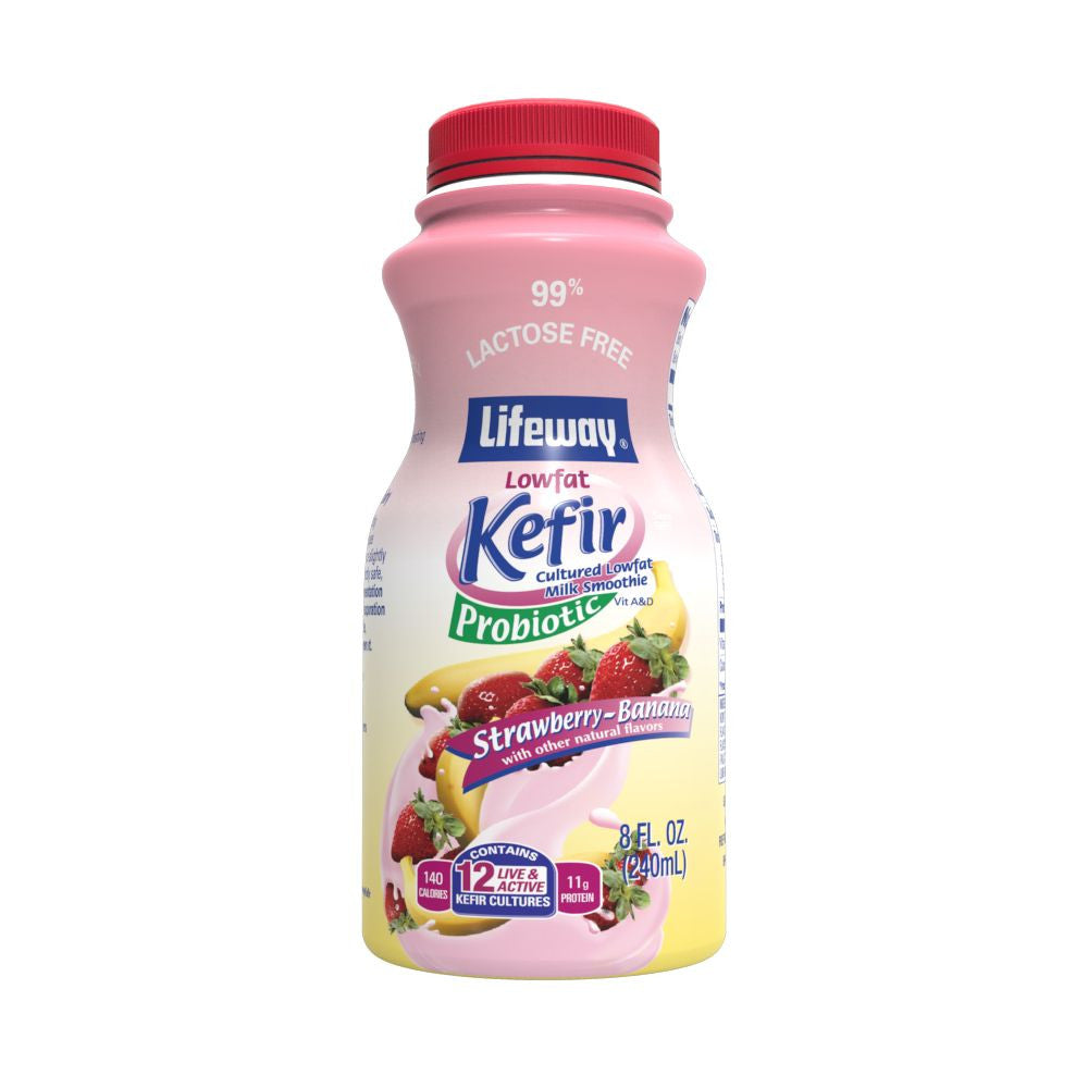 Lifeway Strawberry-Banana Lowfat Kefir Cultured Milk Smoothie, 8 Oz (Pack of 12)