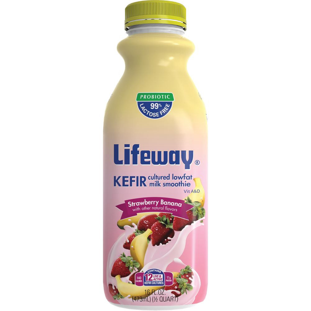 Lifeway Low Fat Strawberry Banana 16oz, 16 Oz (Pack of 6)