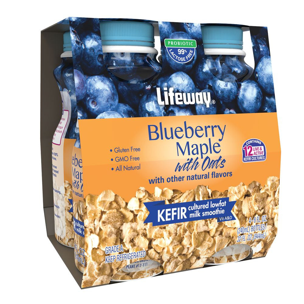 Lifeway Kefir with Oats Blueberry Maple - 4pack, 32 Oz (Pack of 6)