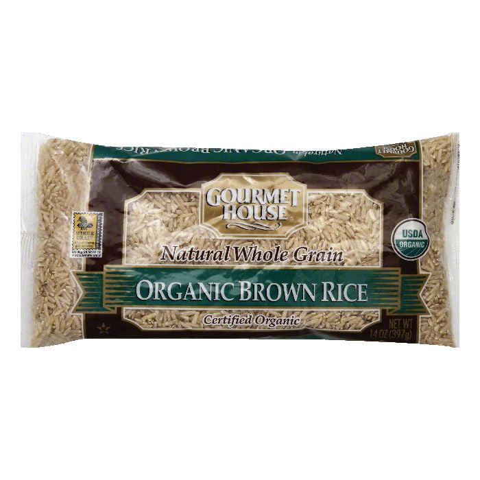 Gourmet House Natural Whole Grain Organic Brown Rice, 14 OZ (Pack of 12)