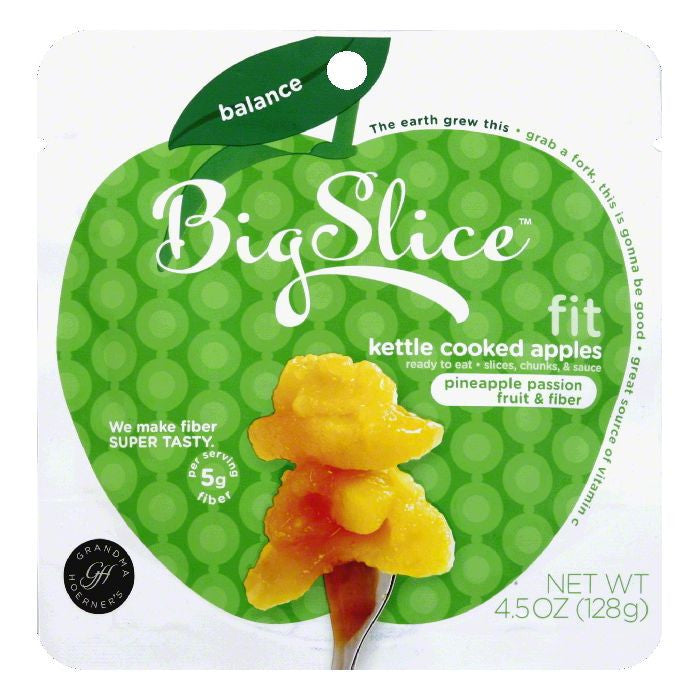 Big Slice Pineapple Passion Fruit & Fiber Kettle Cooked Apples, 4.5 Oz  ( Pack of  8)