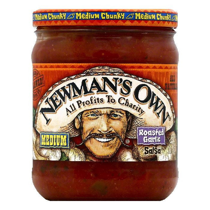 Newmans Own Medium Roasted Garlic Medium Chunky Salsa, 16 OZ (Pack of 12)