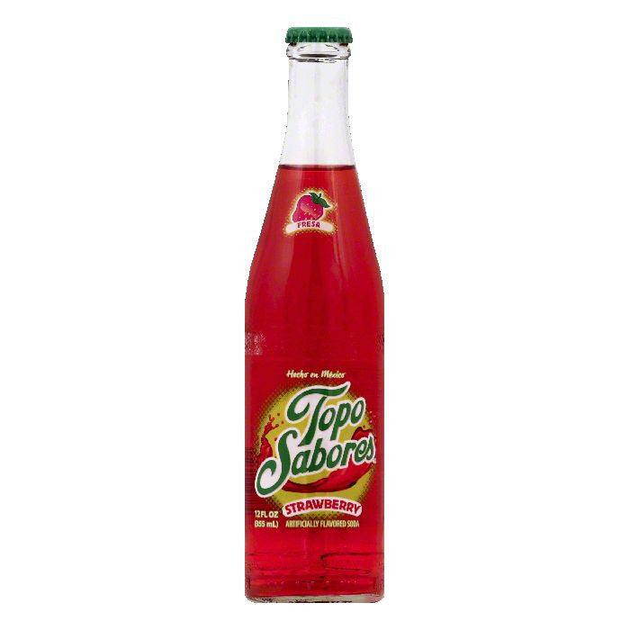 Topo Sabores Strawberry Soda, 12 OZ (Pack of 24)