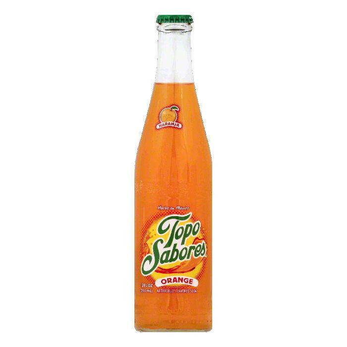Topo Sabores Orange Soda, 12 OZ (Pack of 24)