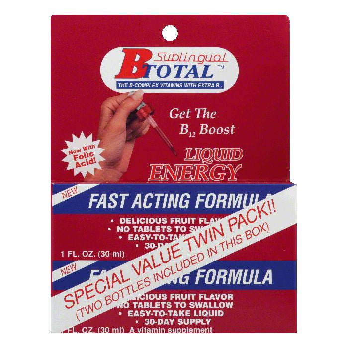 B Total Twin Pack B12 Boost Liquid Energy, 1 Oz