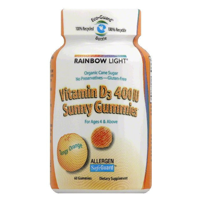 Rainbow Light Sunny Gummies Tangy Orange 400 IU Vitamin D3, 60 ea