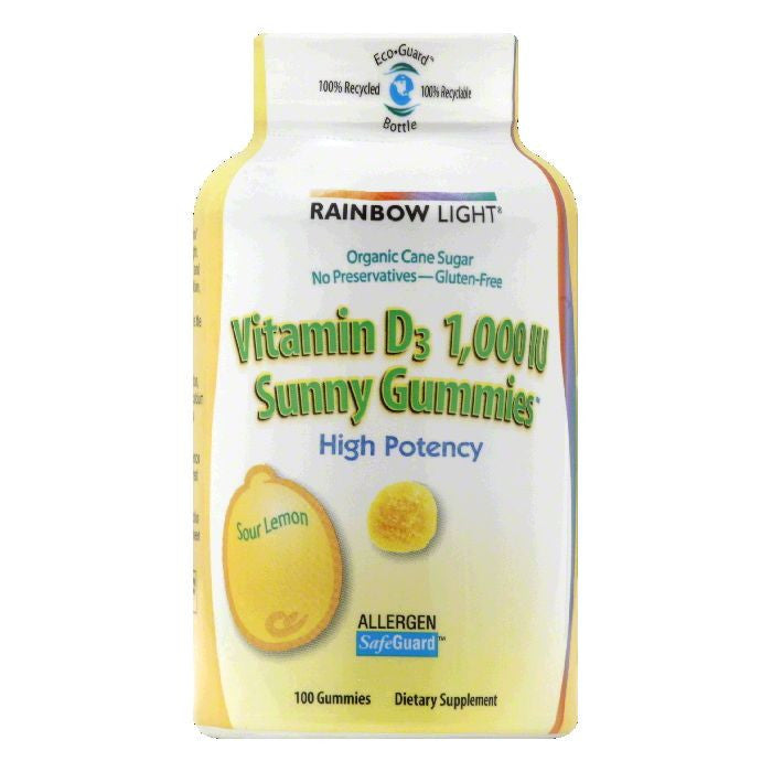 Rainbow Light Sunny Gummies Sour Lemon 1000 IU Vitamin D3, 100 PC