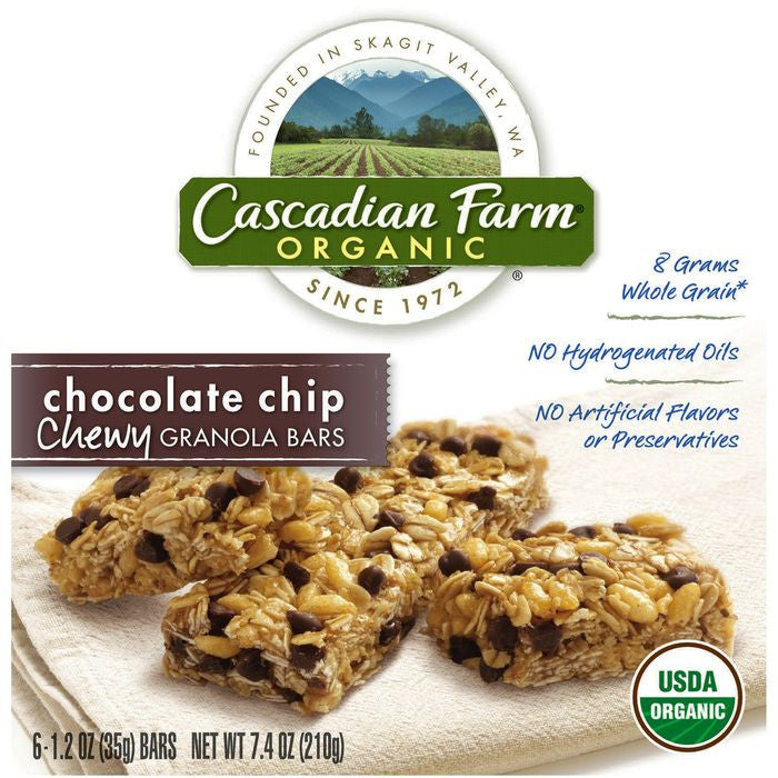 Cascadian Farm Organic Chocolate Chip Chewy Granola Bars 6 ct.  (Pack of 12)