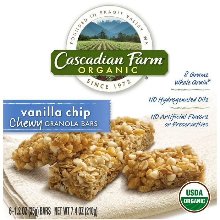 Cascadian Farm Organic Vanilla Chip Chewy Granola Bars 6 ct.  (Pack of 12)