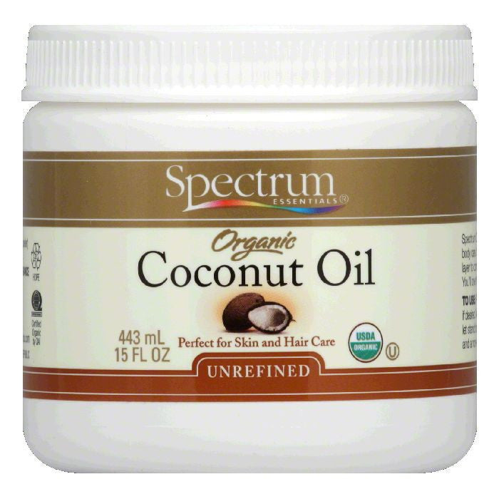 Spectrum Organic Unrefined Coconut Oil, 15 OZ  ( Pack of  1)