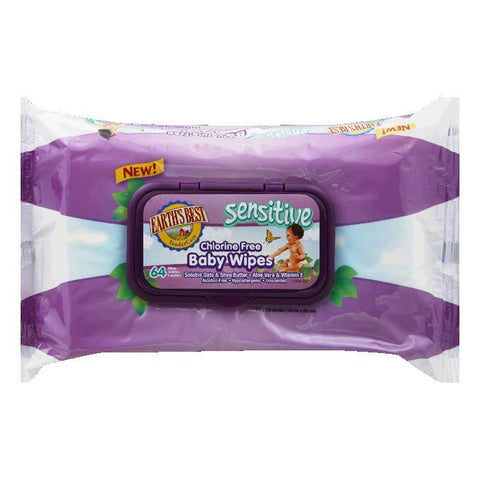 Earths Best Sensitive Chlorine Free Baby Wipes, 64 PC (Pack of 12)