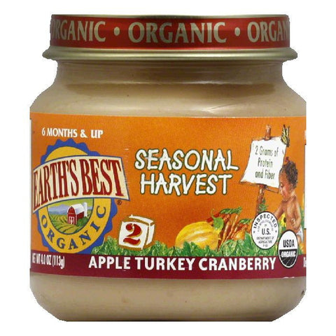 Earth's Best Apple Turkey Cranberry Seasonal Harvest, 4 OZ (Pack of 12)