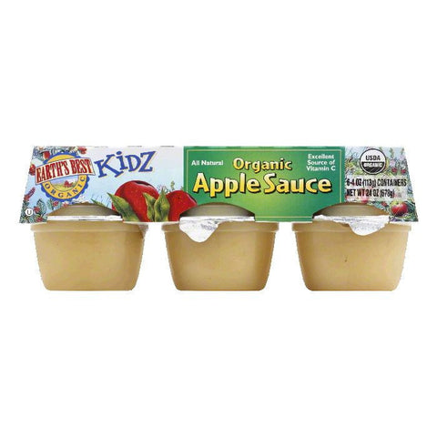Earth's Best Apple Sauce Cup 6 cups, 4 OZ (Pack of 12)