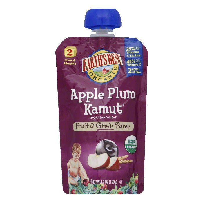 Earths Best 2 Over 6 Months Apple Plum Kamut Fruit & Grain Puree, 4.2 Oz (Pack of 6)