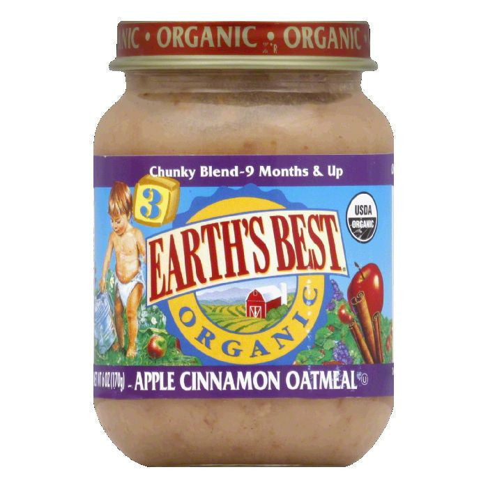 Earth's Best Chunky Apple Cinnamon Oatmeal, 6 OZ (Pack of 12)