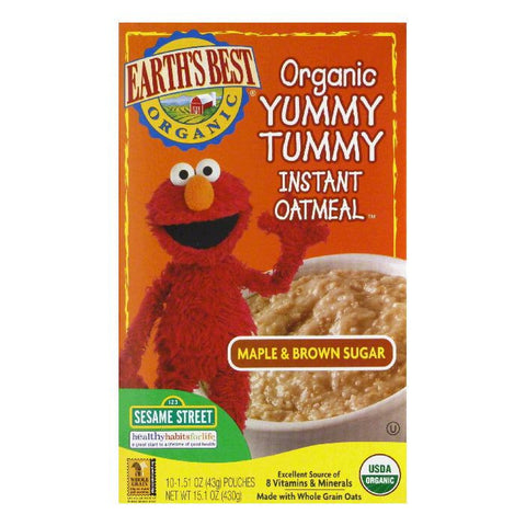 Earth's Best Organic Yummy Tummy Instant Oatmeal Maple & Brown Sugar, 15.1 OZ (Pack of 12)