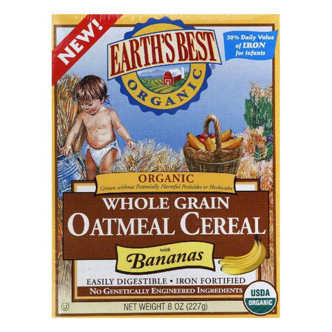 Earth's Best Oatmeal with Bananas, 8 OZ (Pack of 12)