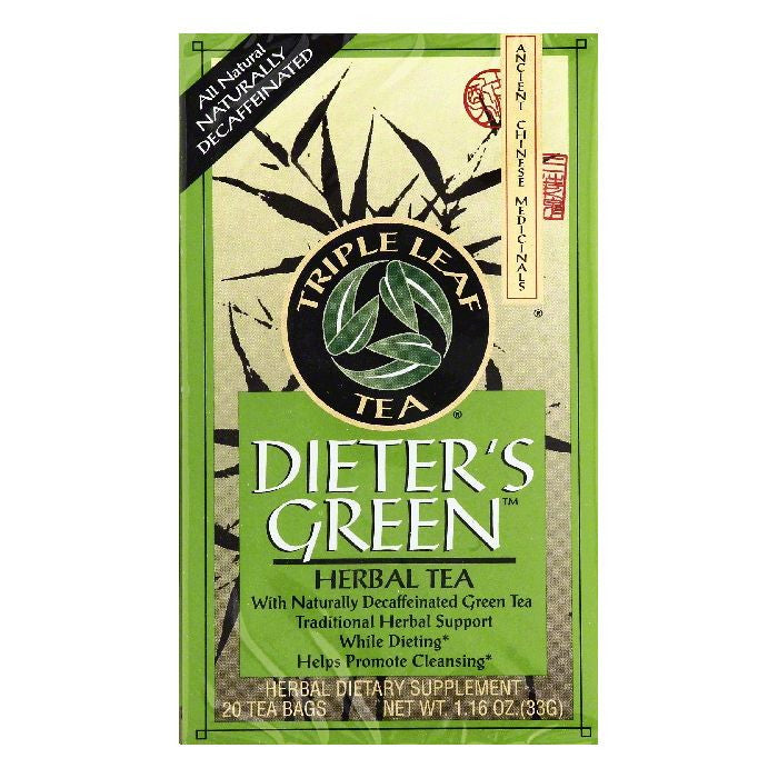 Triple Leaf Tea Bags Decaffeinated Dieter's Green Herbal Tea, 20 ea (Pack of 6)