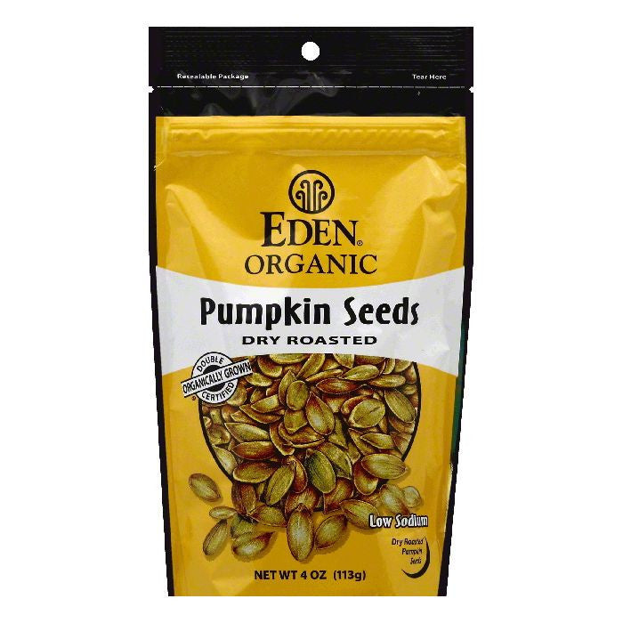 Eden Organic Dry Roasted Pumpkin Seeds, 4 OZ (Pack of 15)