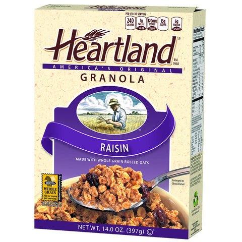 Heartland Raisin Granola Cereal, 14OZ (Pack of 6)