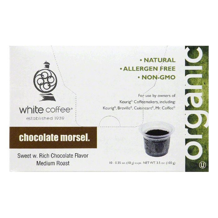 White Coffee Cups Chocolate Morsel Medium Roast Coffee, 10 ea (Pack of 4)