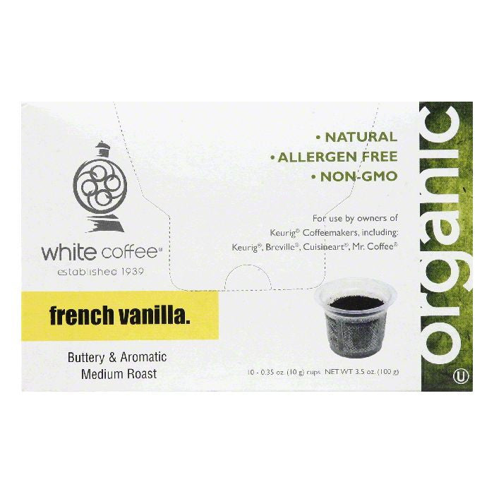 White Coffee Cups French Vanilla Medium Roast Coffee, 10 ea (Pack of 4)
