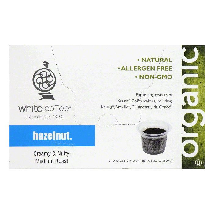 White Coffee Cups Hazelnut Medium Roast Coffee, 10 ea (Pack of 4)