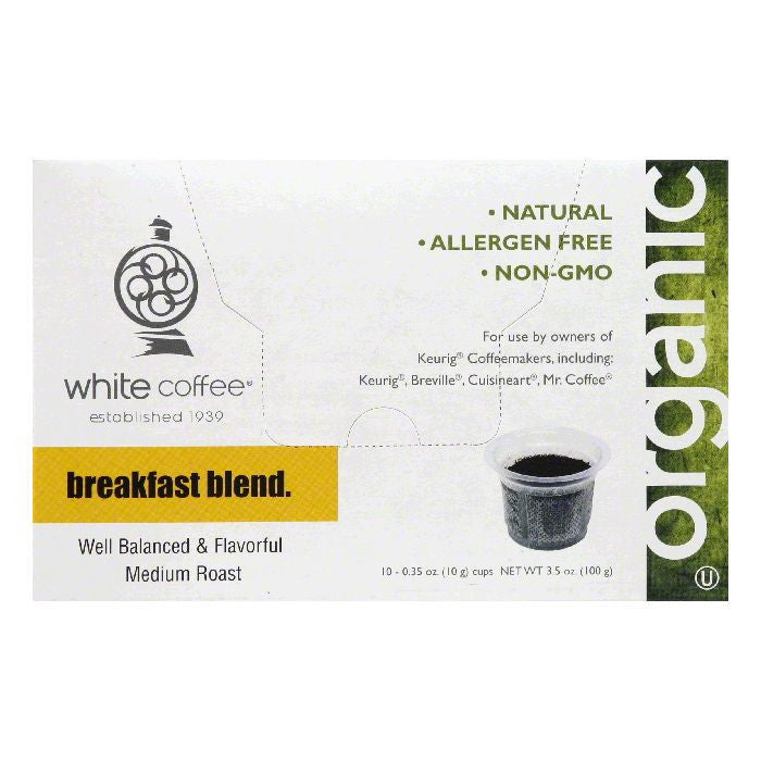 White Coffee Cups Breakfast Blend Medium Roast Coffee, 10 ea (Pack of 4)