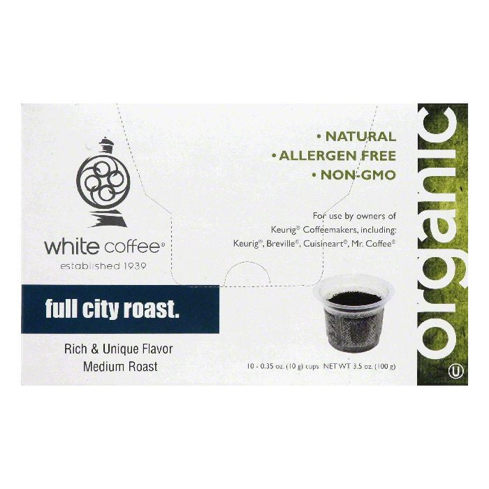 White Coffee Cups Full City Roast Medium Roast Coffee, 10 ea (Pack of 4)