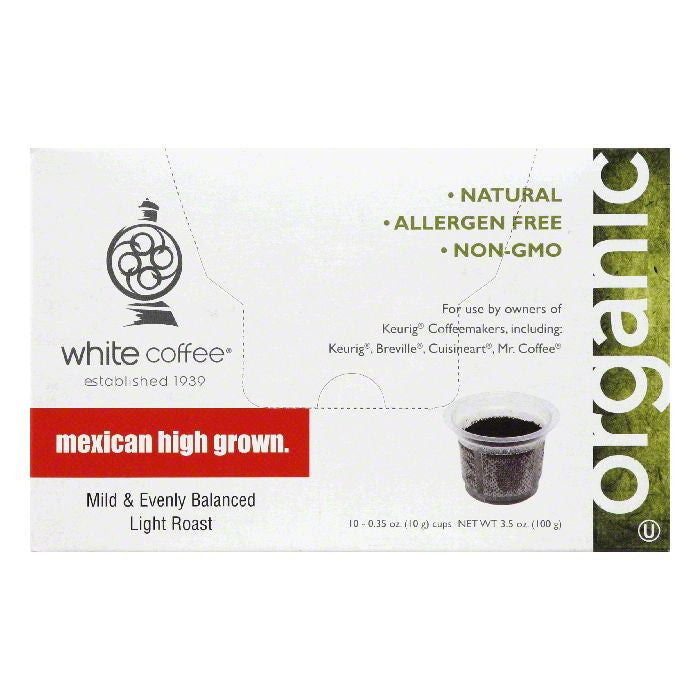 White Coffee Cups Mexican High Grown Light Roast Coffee, 10 ea (Pack of 4)