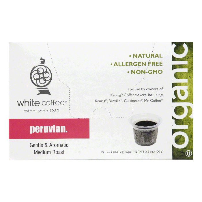 White Coffee Cups Peruvian Medium Roast Coffee, 10 ea (Pack of 4)