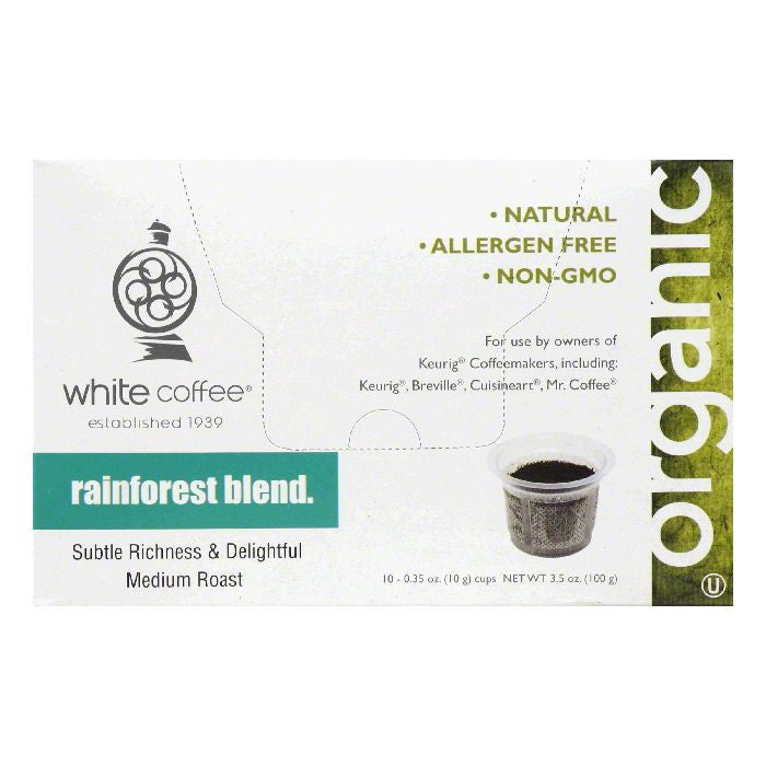 White Coffee Cups Rainforest Blend Medium Roast Coffee, 10 ea (Pack of 4)
