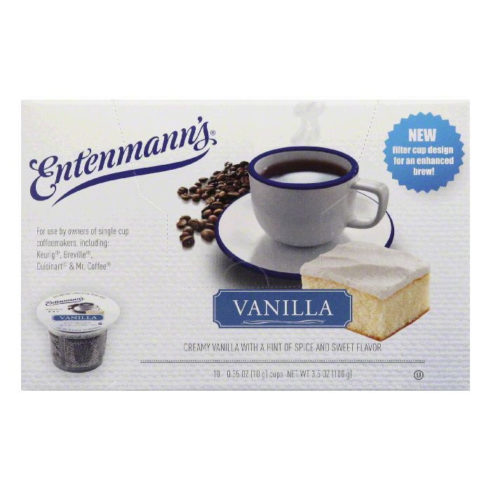 Entenmanns Vanilla Medium Roast Single Serve Cups Coffee, 10 ea (Pack of 4)