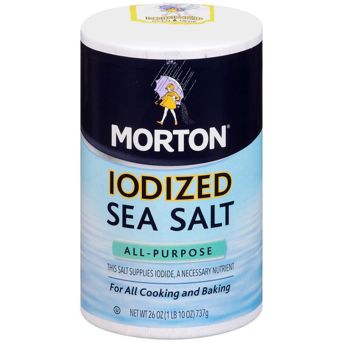 Morton All-Purpose Iodized Sea Salt 26 Oz Pour Spout (Pack of 12)