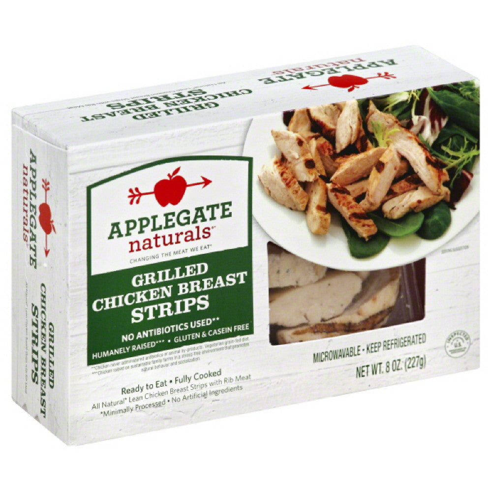 Applegate Grilled Chicken Breast Strips, 8 Oz (Pack of 12)