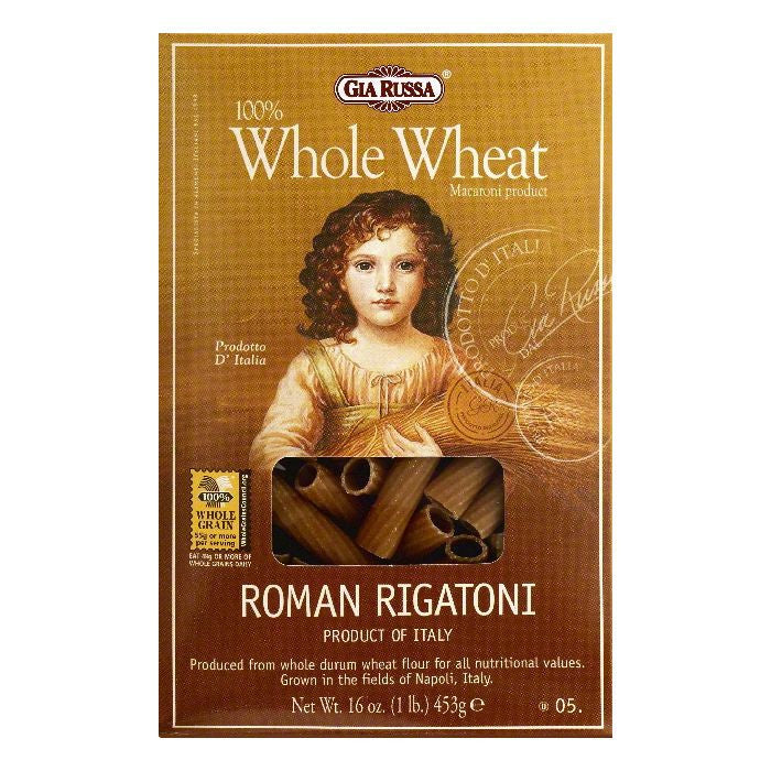 Gia Russa 5 100% Whole Wheat Roman Rigatoni, 16 OZ (Pack of 12)