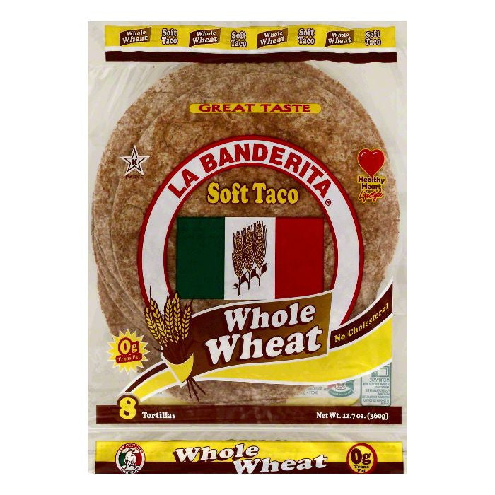 La Banderita Soft Taco Whole Wheat Tortillas, 8 ea (Pack of 12)