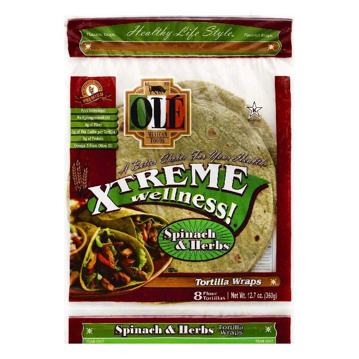 Ole Spinach & Herbs Flour Tortilla Wraps, 8 ea (Pack of 6)