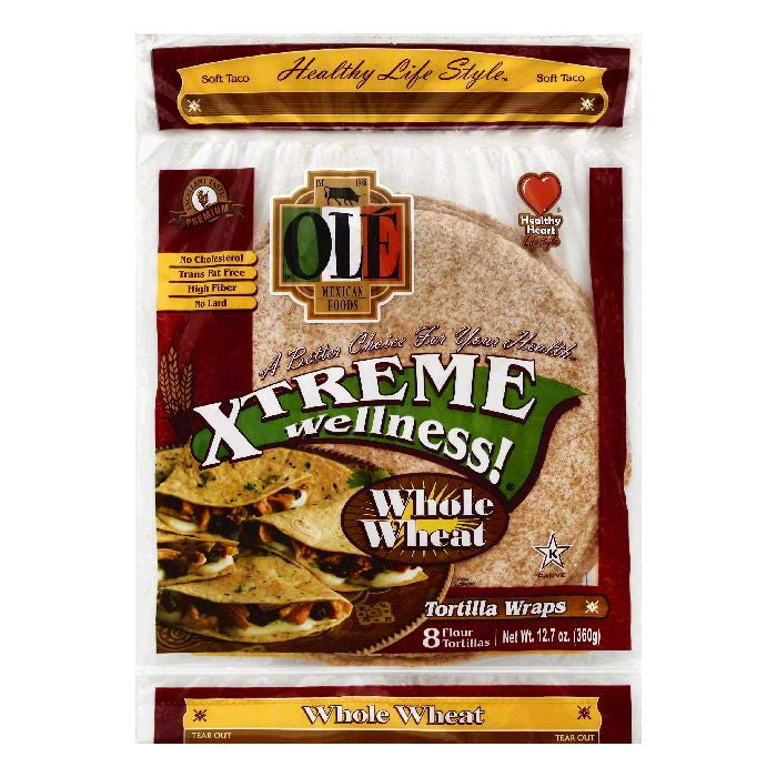 Ole Whole Wheat Soft Taco Flour Tortilla Wraps, 8 ea (Pack of 6)