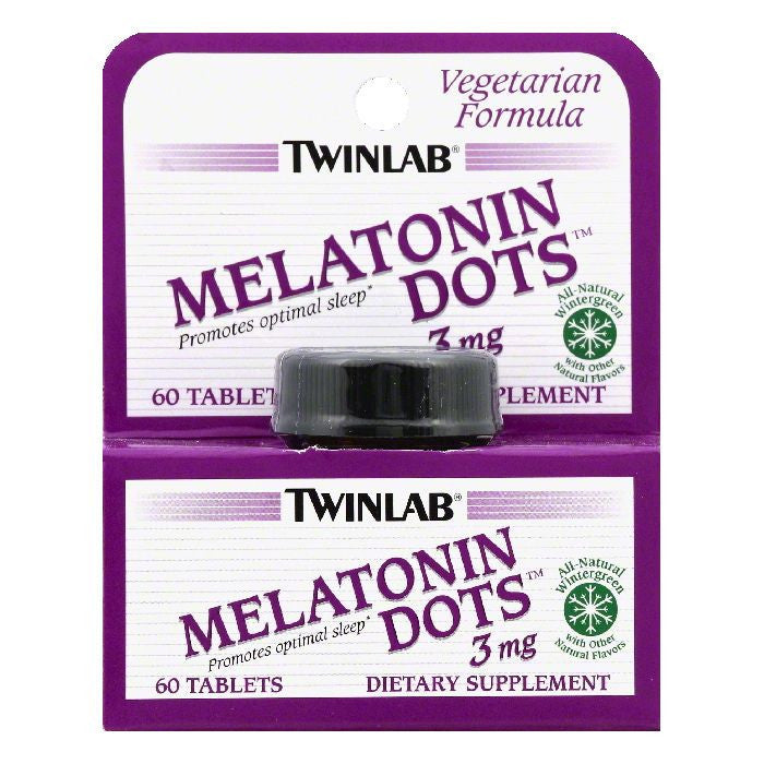 TwinLab Wintergreen Tablets 3 mg Melatonin Dots, 60 ea